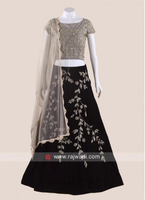 Velvet Flower Work Lehenga Set