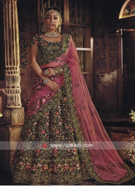 Velvet Heavy Bridal Lehenga Choli in Bottle Green