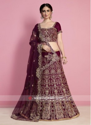 Velvet Heavy Embroidered Bridal Lehenga