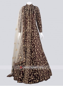 Velvet Heavy Embroidered Gown