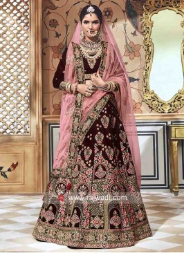 Velvet Heavy Embroidered Lehenga