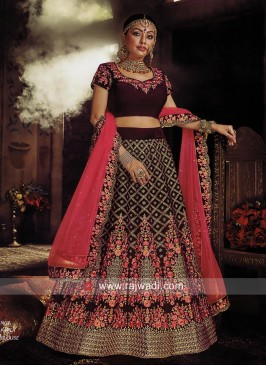 Velvet Heavy Embroidered Lehenga Choli