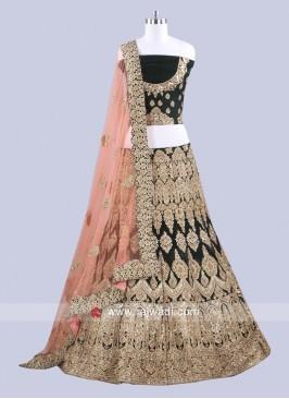 Velvet Heavy Embroidered Lehenga Choli
