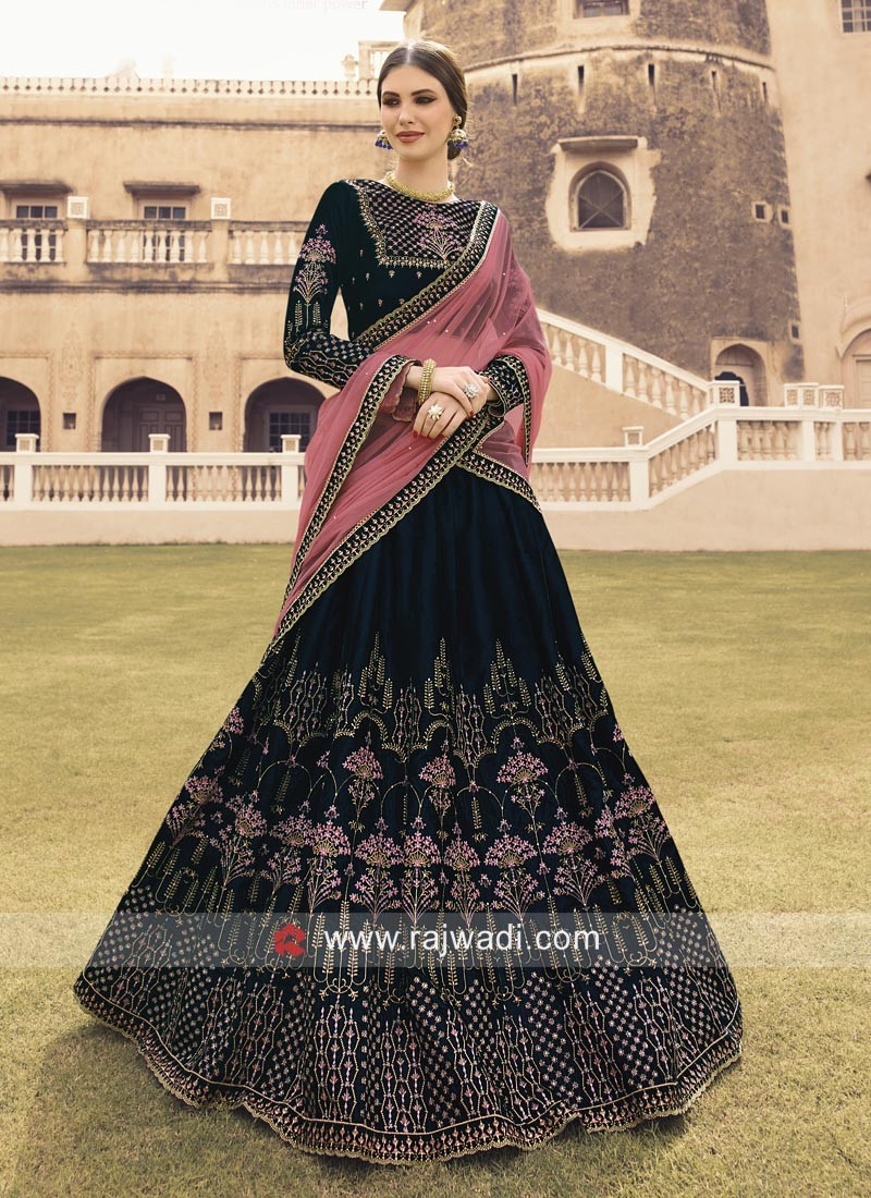 Velvet Heavy Lehenga Choli in Peacock Blue