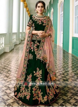Velvet Heavy Lehenga Set in Bottle Green