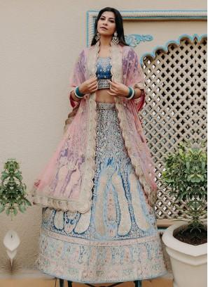 Velvet Lehenga Choli In Blue Color