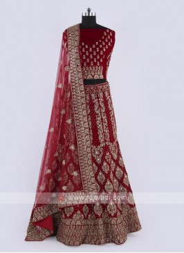 Velvet Lehenga Choli In Maroon Color