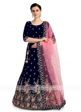 Velvet Lehenga Choli In Navy Blue