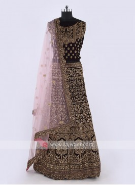 Velvet Lehenga Choli In Purple Color