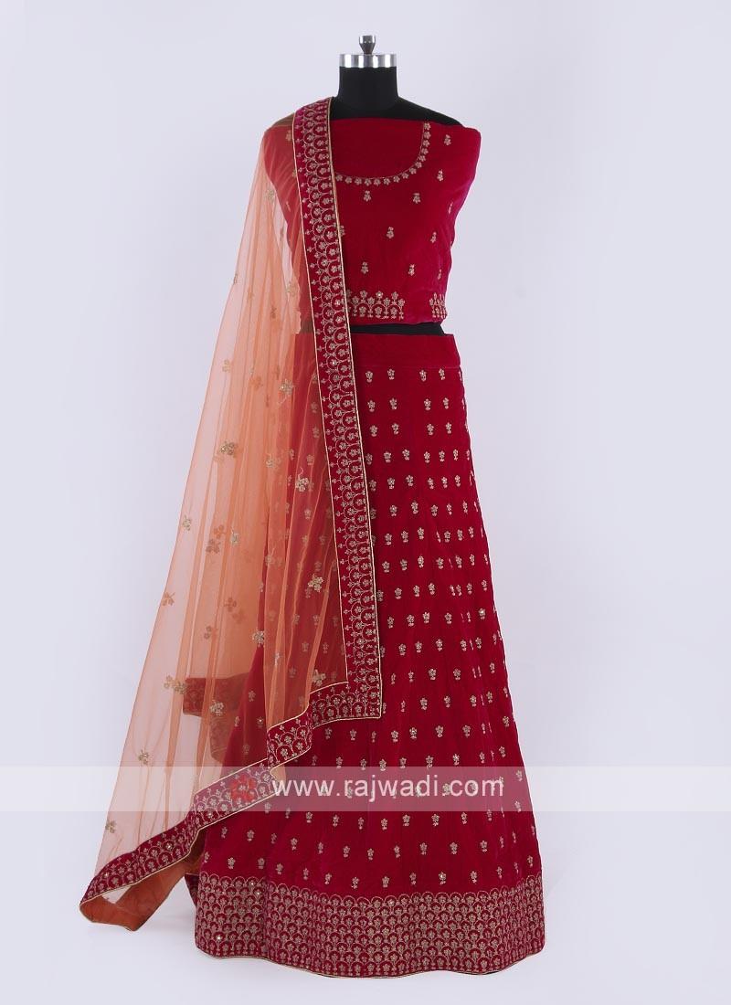 Velvet Lehenga Choli In Rani Color