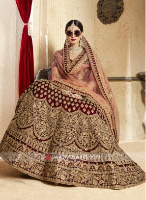 Velvet Lehenga Set with Net Dupatta