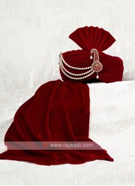 Velvet Maroon Color Wedding Safa