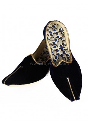 Velvet Navy Blue Groom Mojari