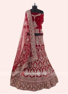 Velvet Red Bridal Lehenga