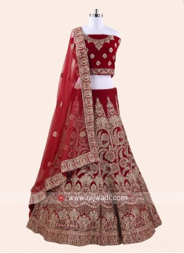 Velvet Red Bridal Lehenga Choli