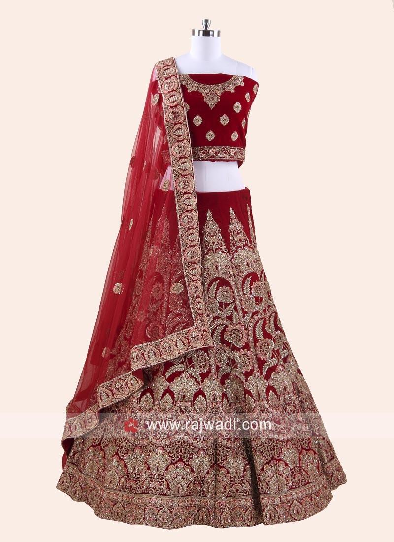 b3d5208a68 Velvet Red Bridal Lehenga Choli. Hover to zoom