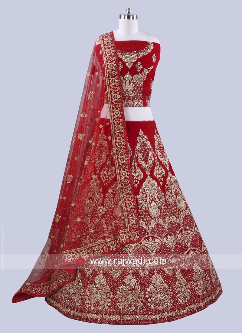 Velvet Red Lehenga Choli