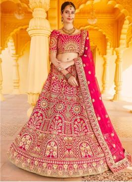 Velvet Resham Pink A Line Lehenga Choli
