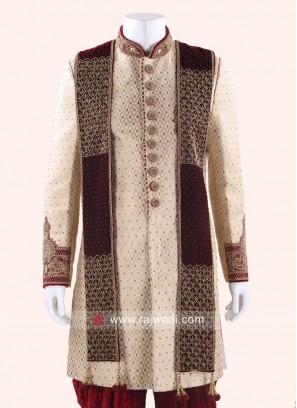 Velvet Sherwani Dupatta for Groom