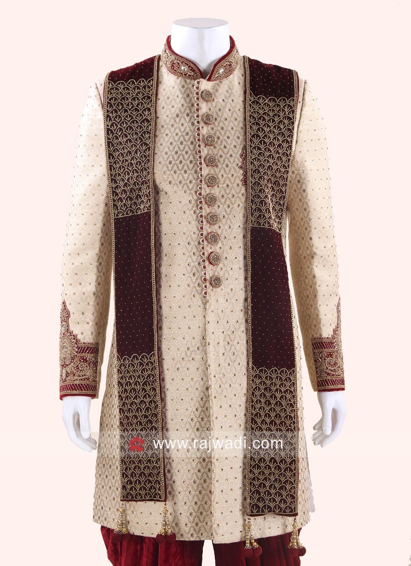 Velvet Sherwani Dupatta for Groom