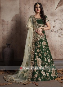 Velvet Silk Embroidered Lehenga