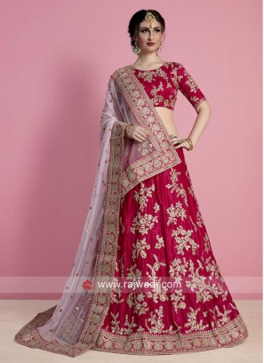 Velvet Silk Flower Embroidered Lehenga Choli