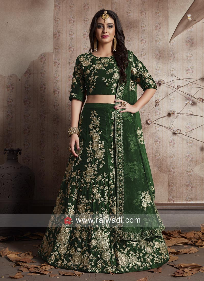 Velvet Silk Heavy Embroidered Lehenga