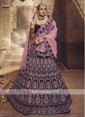 Velvet Wine Color Lehenga Choli