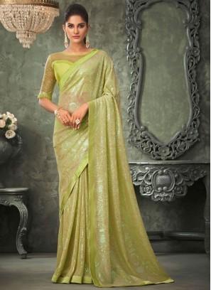 Vibrant Green Sequins Classic Saree
