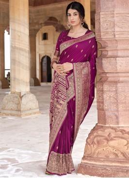 Vibrant Weaving Banarasi Silk Designer Traditional Saree