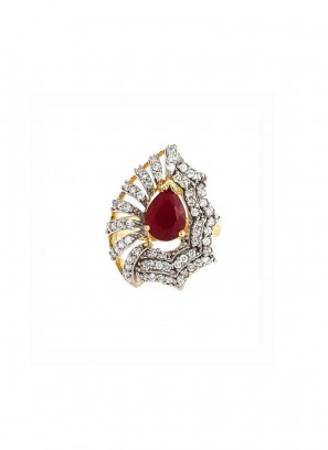 Victorian Style Rhodium Plated Stone Ring