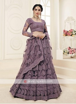 violet color lehenga choli