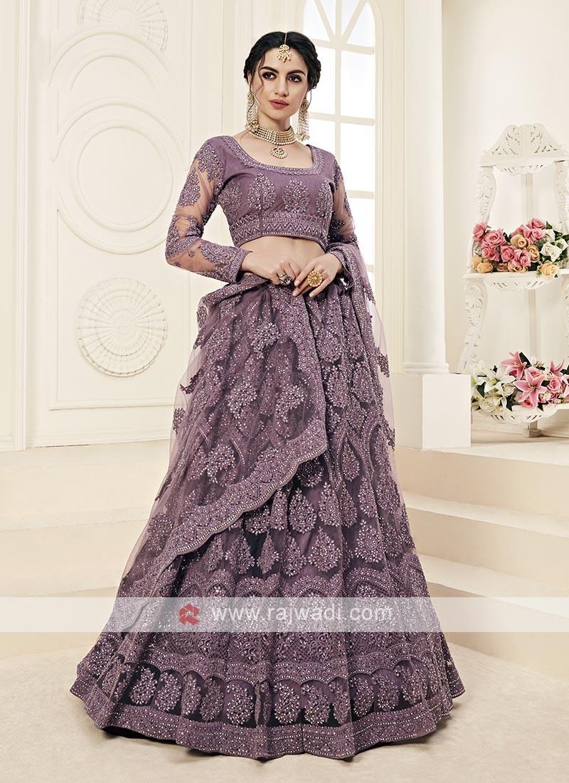 violet color lehenga choli