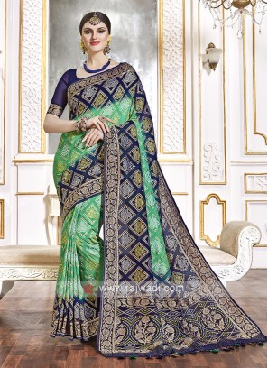 Viscose Blue And Green Saree