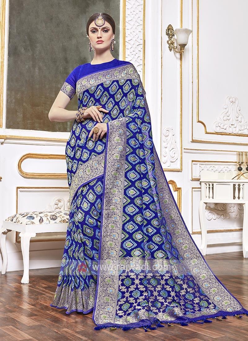 Viscose Blue Color Saree