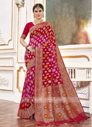 Viscose Red And Rani Saree