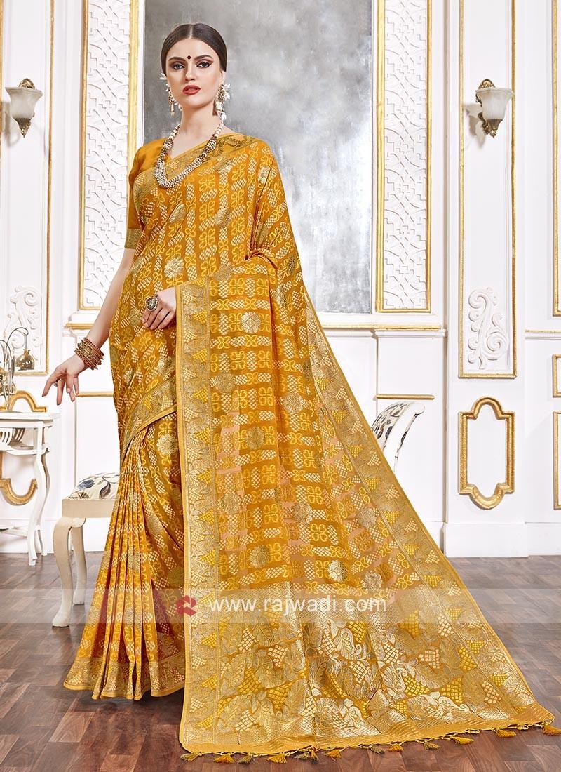 Viscose Saree In Golden Yellow