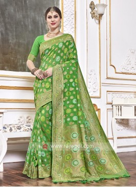 Viscose Saree In Green