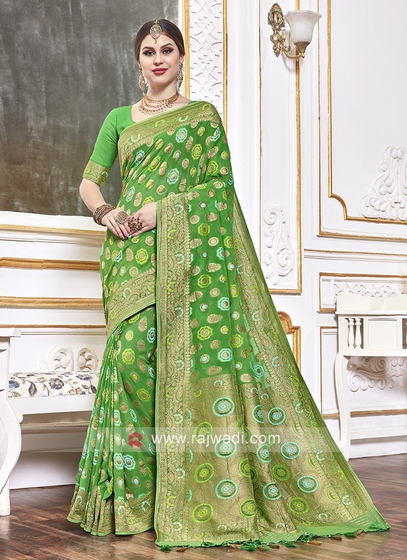Viscose Saree In Green