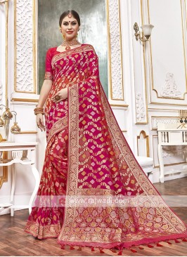Viscose Saree In Red And Orange