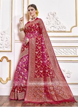 Viscose Saree In Red And Rani