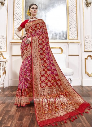 Viscose Saree In Red And Rani