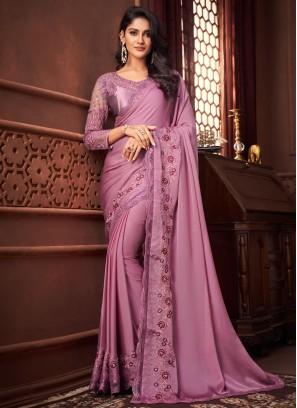 Voguish Silk Purple Designer Saree