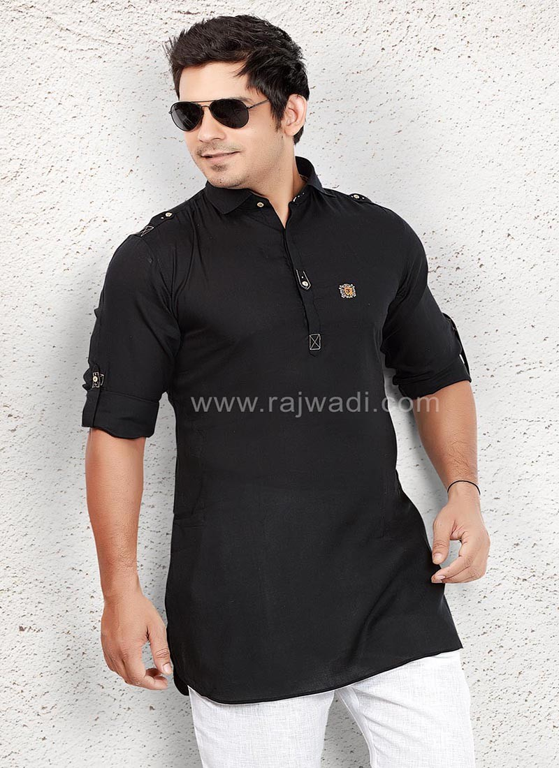 Voile Fabric Black Kurta