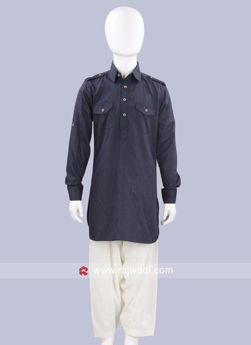Voile Fabric Slate Grey Pathani Suit