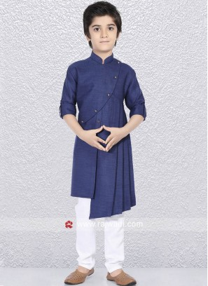 Navy Layered Kurta Set For Wedding