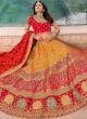 Voluptuous Banarasi Silk Zari Orange and Red Trendy Lehenga Choli