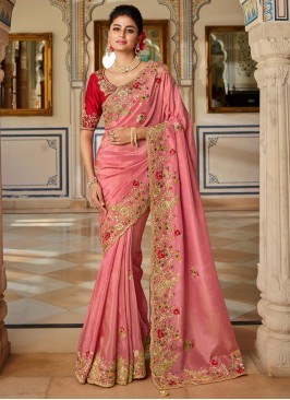 Voluptuous Pink Patch Border Designer Traditional Saree