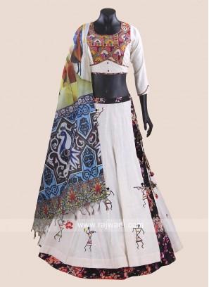 Warli Print Cotton Silk Chaniya Choli