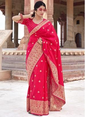 Weaving Banarasi Silk Traditional Designer Saree in Hot Pink